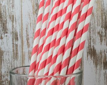25 Coral baber stripe paper drinking straws with FREE DIY Flag Template - cake pop sticks, vintage, party, bulk straws