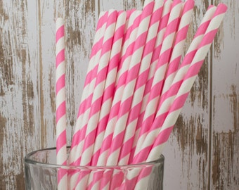 "100 Bubblegum Pink and white barber striped paper drinking straws -  with FREE Blank Flag Template.  See also - ""Personalized"" flags option."