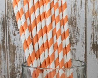 "25 Crayola Orange and white barber striped paper drinking straws -  with FREE Blank Flag Template.  See also - ""Personalized"" flags option."