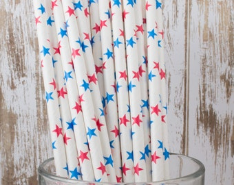 "25 red and blue stars paper drinking straws -with FREE Blank Flag Template.  See also - ""Personalized"" flags option."