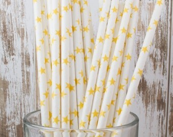 25 yellow stars paper drinking straws  & FREE Blank Flag Template.  See also - Personalized flags option.