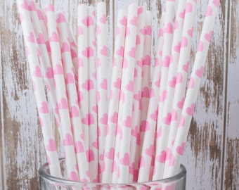 """50 Pink Hearts polka dot paper drinking straws - with FREE Blank Flag Template.  See also - """"Personalized"""" flags option."""