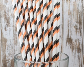 "100 orange and black Halloween double stripe paper straws   with FREE Blank Flag Template   See - ""Personalized"" flag option."