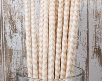 100 Ct Ivory Cream/Vanilla Chevron vintage striped paper drinking straws - with FREE DIY Flag Template