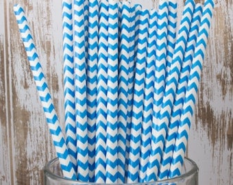 100 Ct Blue Chevron vintage striped paper drinking straws - with FREE DIY Flag Template