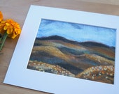 Whisky Highlands - Giclee Art Print Wool Painting Reproduction - 5x7 Print/8x10 Mat - SALE 20% off