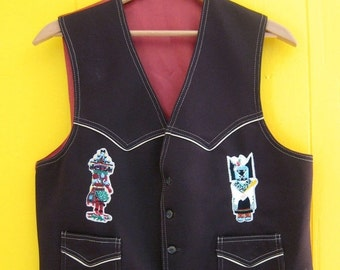 on sale Vintage Vest/Cowboy Vest/Brown Vintage Vest/Native Style/Native American/Kachina Patches/Western Clothing