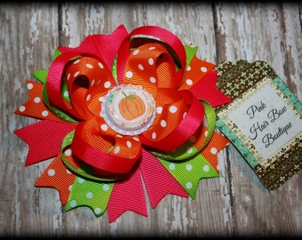 Pumpkin hair bow , Fall Hair Bow, Pumpkin Hairbow , pumpkin Hair clip , pink and orange pumpkin bow