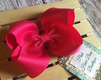 Shocking Pink hair bow , hair bow , shocking pink hairclip , pink hair bows , pink bow , boutique hair bow , spring hair bow