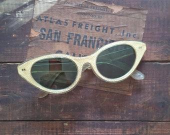 Cat Eye Sunglasses Women's Gold 1950s Vintage Mid Century Smokey Green Gray Tinted Lens Bakelite Antique Eyeglasses Clear Frame Metallic