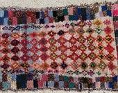 FREE SHIPPING WORLDWIDE L22201 vintage boucherouite rug, moroccan rugs , rag rug, berber tribal art, morocco carpets, wall art