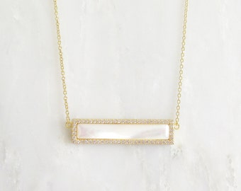 Mother of Pearl Bar Necklace - Diamond Necklace - Layering Necklace - MOP Necklace - Bar Necklace