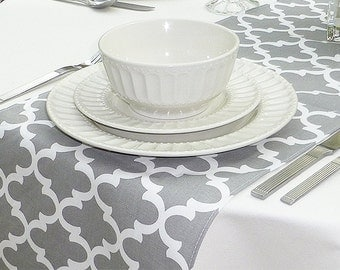 """Choose your Table Runner, Grey White Table Runner - Wedding Table Runner - Wedding Table Decor - Fulton Grey Table Runner - 12"""" x 54"""""""