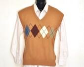 Mens Sweater Vest Large Argyle Knit V-Neck Light Brown Burgundy Blue Diamond Print Vintage 1980's Preppy Menswear