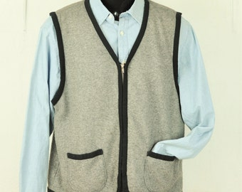 Mens Sweater Vest Large Vintage Unisex Zip Up Gray w/ Black Contrast Trim & Pockets Knit Vest 1980's Lightweight