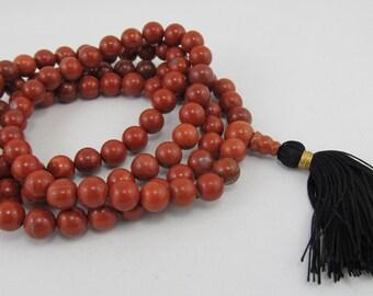 Made to order 8mm red jasper 108 beads buddhist mala - yoga jewelry - japa mala - silk tassel necklace