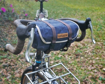 Seven Hills, handle bar and saddle bag, blue waxed canvas
