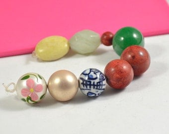 9Beads Charm Pearl Beads,Jasper Beads, Coral Bead, Jade bead , Porcelain Loose Gemstone beads ,Fit your Handmade Jewelry Necklace ,Pendant