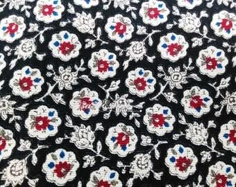 Pomegranate, on black, fat quarter, pure cotton fabric