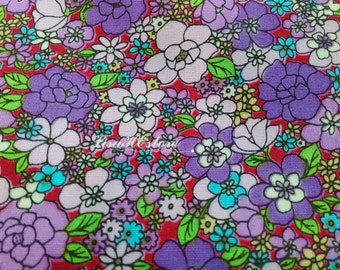 Purple blue and yellow flowers, fat quarter, pure cotton fabric