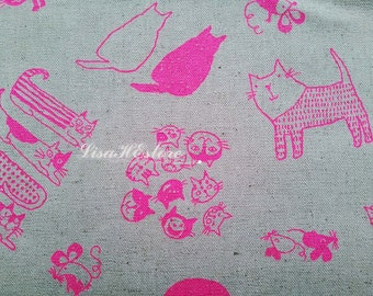 Bright pink cat sketch, on ecru, 1/2 yard, cotton linen blended fabric