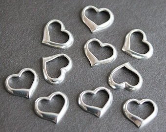 Sterling Silver Heart Charm - Pendant Drop Component 12x10mm