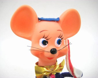 Vintage 1960s Big Earred Mouse Figure, Band Conductor, Professor, Whiskers, Purple Tux - Soft Plastic Made in Japan, TKR