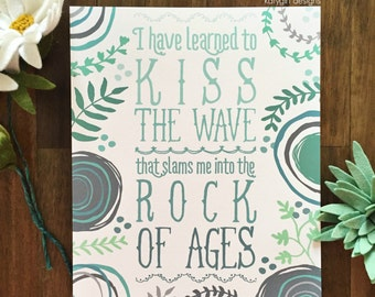 Rock Of Ages Print - Charles Spurgeon Quote - Encouragement, Religious, Ocean,
