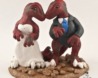 Raptors Dinosaur Wedding Cake Topper Custom Bride and Groom
