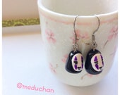 Cute studio gibli Noface chibi inpsired polymerclay stainless steel earrings