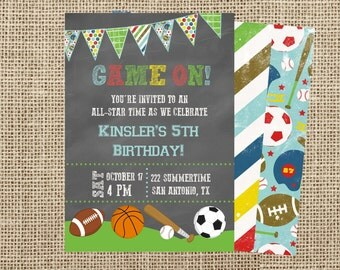Sports Invite- Sports Party Invite-Tailgating Birthday Invitation- Game On Birthday Party Invite-Casbury Lane