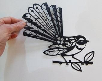 New Zealand, fantail, black, paper cut