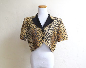 Heathers! Vintage 80's Cropped Leopard Print Blazer Jacket