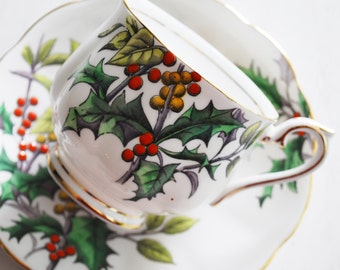 Royal Albert Holly Teacup and Saucer, December Flower of the Month Tea Cup