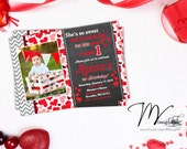 Chevron Chalkboard Valentine's Birthday Invitations, Valentine's Photo Card, Valentine's Hearts Photo Card - Digital File You Print