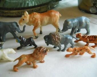 Vintage Plastic Miniature Animals 1950's Miniature Animal Toys Vintage Toys 11 Animals Collectible Miniatures