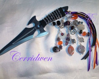 Cerridwen Embellished Athame - Several Blade Styles/Sizes - Charoite, Carnelian, Agate, Moonstone