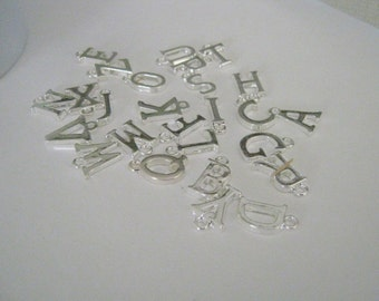 26 Silver Plated Alphabet Letter Charms  A to Z