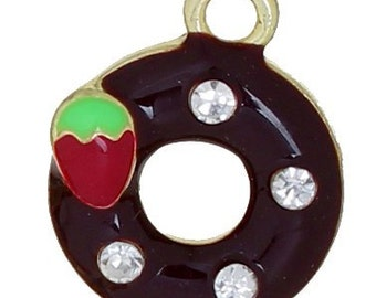One Gold Plated Chocolate with a Strawberry Donut with Clear Rhinestones  Charm