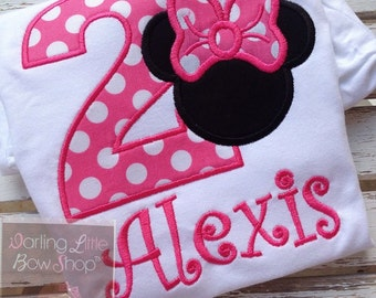 Miss Mouse Shirt -- birthday shirt with number, Miss Mouse ears, and personalized with name in hot pink polka dots and black