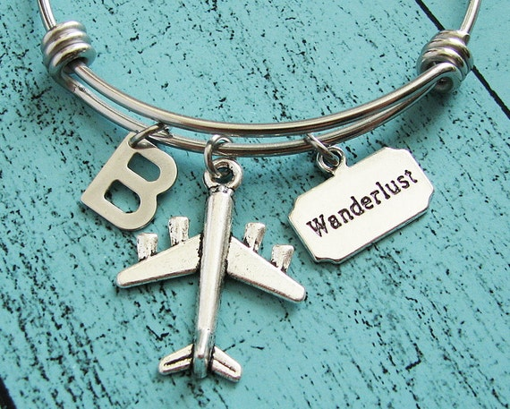 gift for traveler, wanderlust bracelet, travel gift, adventure jewelry, going away, graduation gift, pilot gift, plane bracelet, traveling