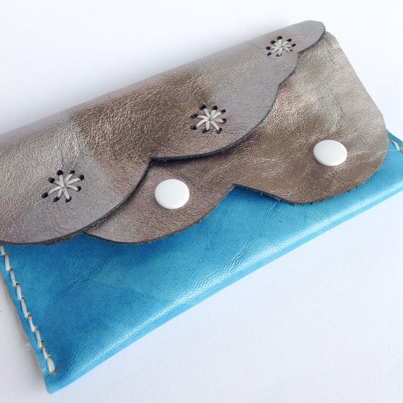 Blue sky #makeforgood Silver lining Cloud purse preloved leather, handmade,