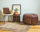 Antique Revival Leather Moroccan Pouf Ottoman- Whiskey Brown