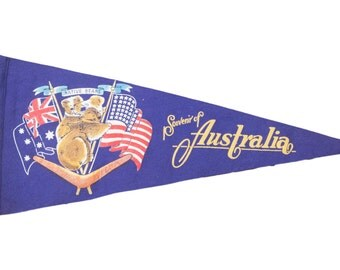 Vintage Australia Felt Flag Banner