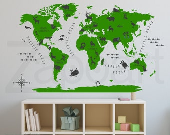 World Map with Animals Wall Decal Kids Map Decal