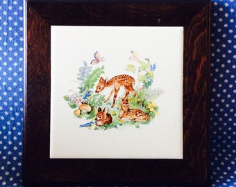 Sweet vintage framed tile w deer