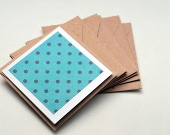 SALE-Turquoise Polka Dot Mini Cards // Set of 6 // Enclosure Cards // Gift Card // Love Note // Advice Card // Journal Card // Scrapbooking