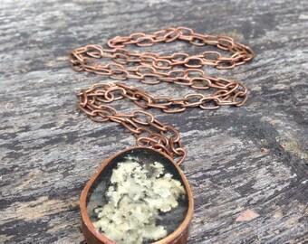 Alaskan Lichen Copper Statement Long Necklace