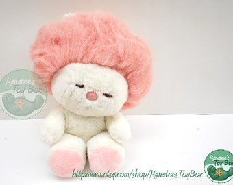 Vintage 1980s Plush FrouFrou by Dakin White with Cotton Candy Pink Hair