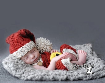 Baby boy or baby girl Santa knit hat and pants overalls set photo prop all colors available